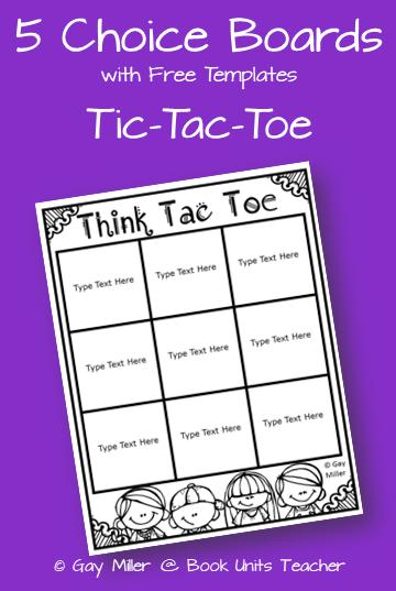 5 Free Choice Board Templates including Tic Tac Toe