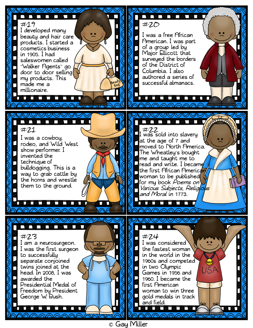 Free Black History Month Task Cards