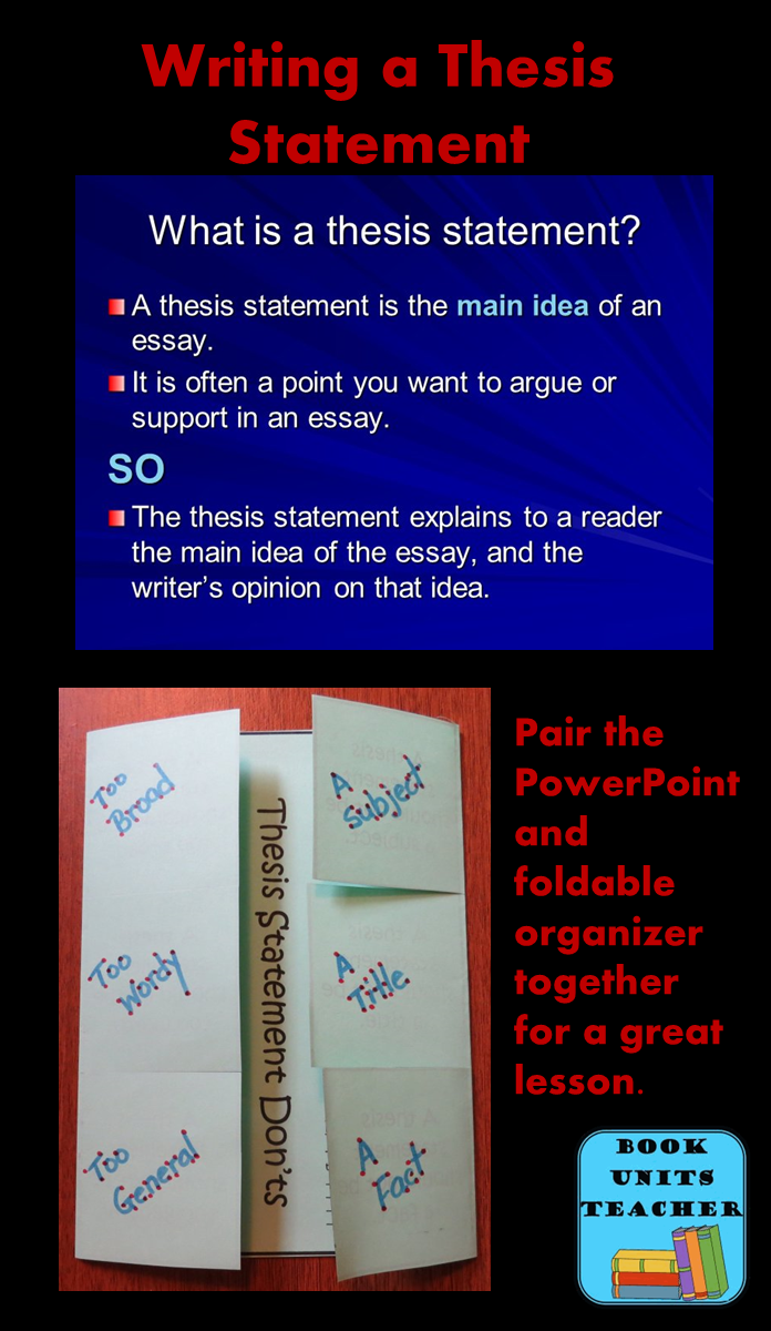 Writing A Thesis Statement  Book Units Teacher Free Teaching Materials  Pair The Powerpoint With The Foldable Organizer  For A Great Lesson