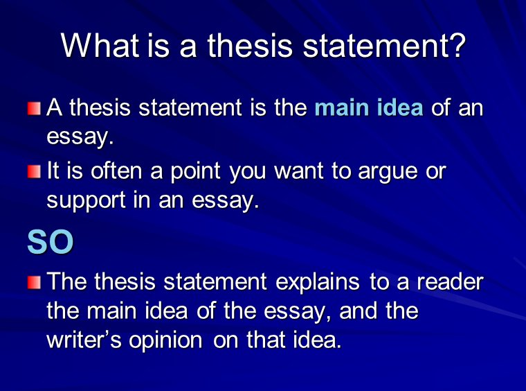 Explain A Thesis Statement