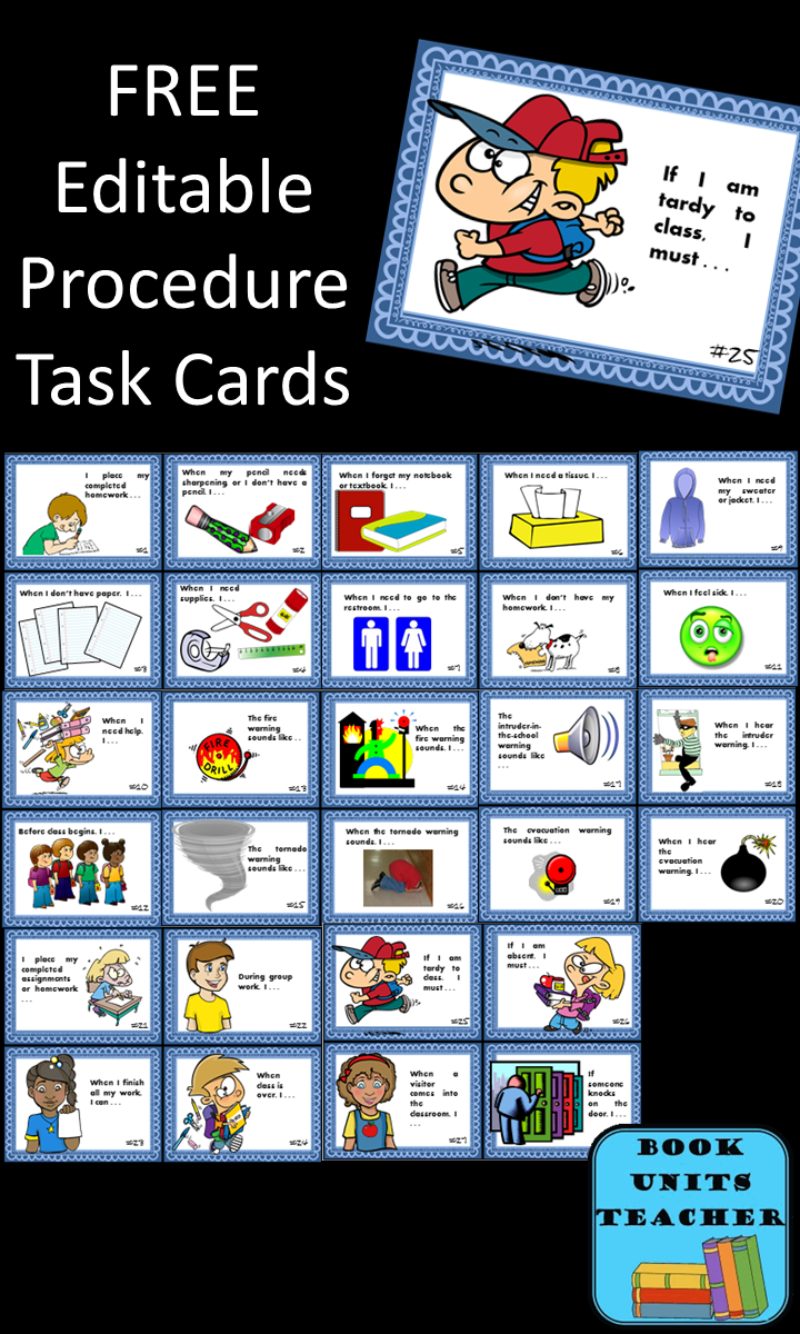 Free Editable Procedure Task Cards