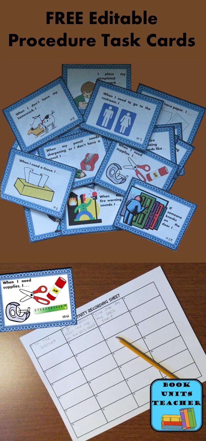 Free Editable Procedure Task Cards