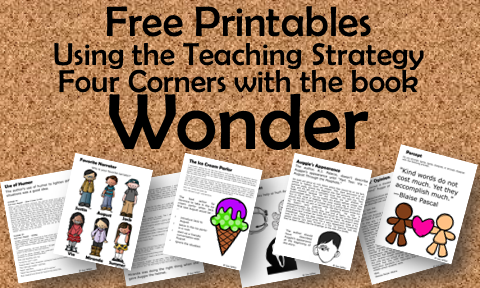 Teach the Four Corners Strategy using these prompts for the book Wonder.