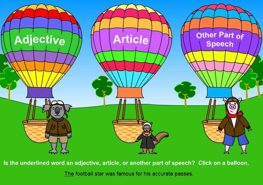 Online Game - Adjective Balloon Ride