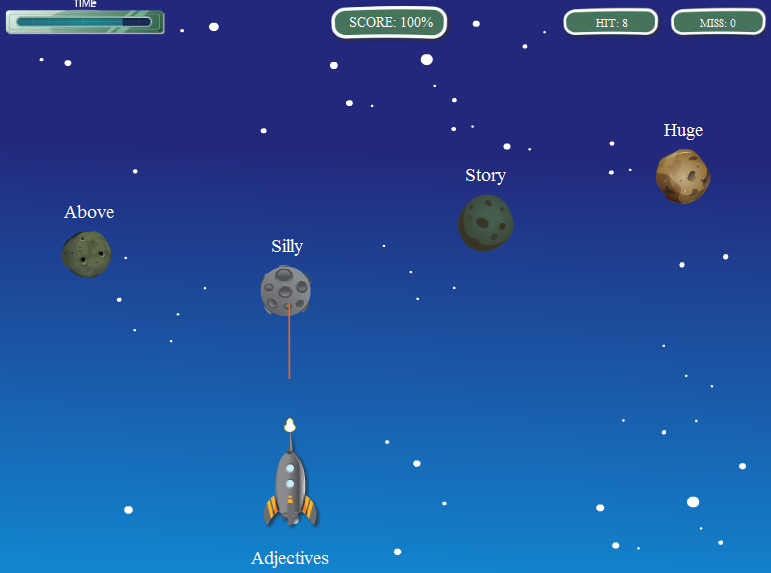 Online Game - Parts of Speech Asteroids