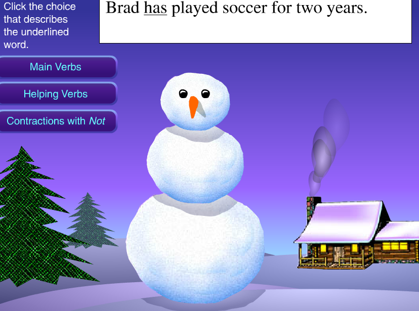 Online Game - Snowland of Verbs and Contractions