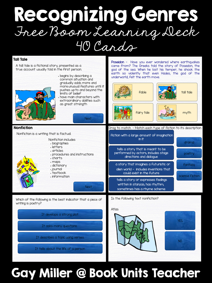 Students learn to recognize different genres with this free 40 card deck at Boom Learning. This activity provides both definitions and practice for a great learning experience.