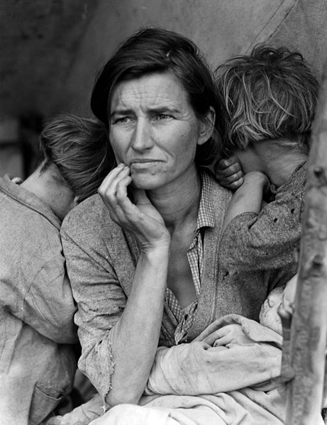 Dorothea Lange's photo of Florence Thompson with several of her children has become a moving symbol of the Great Depression.
