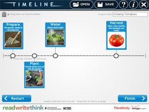 ReadWriteThink Create a Timeline Tool ~ Timeline allows students to create a graphical representation of an event or process by displaying items sequentially along a line.