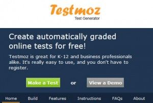 Testmoz is a test generator that sports 4 question types, automatic grading, a really simple interface and detailed reports.
