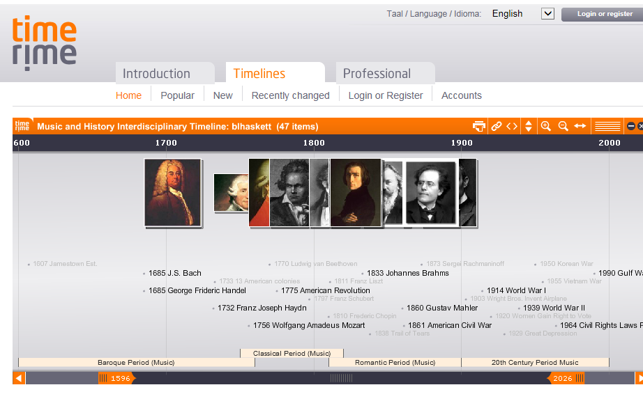 TimeRime allows users to create timelines that include text, images, audio, and video.