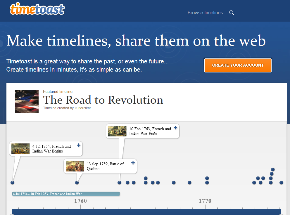 TimeToast is a great tool that allows you to create timelines and share them on the web. It is very easy to learn and use.