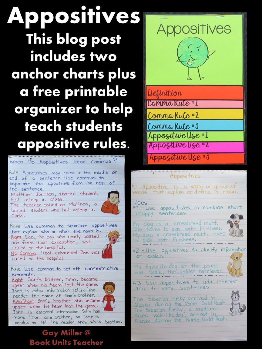 This blog post includes two anchor charts plus a free printable organizer to help teach students appositive rules.