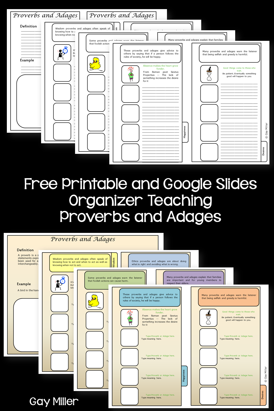 Free Proverb and Adages Organizer - Printable and Google Slides Versions