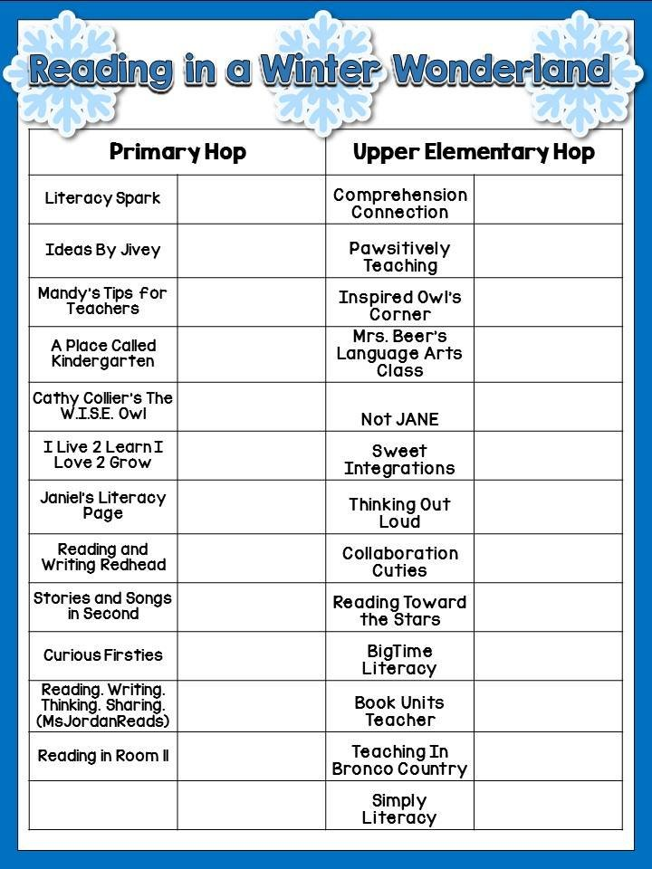 Winter Mentor Text Blog Hop Tracking Form