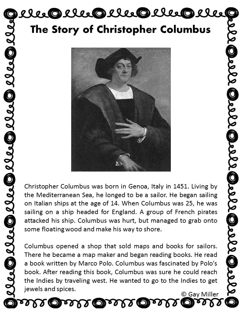The Story of Columbus ~ Printable Versiion