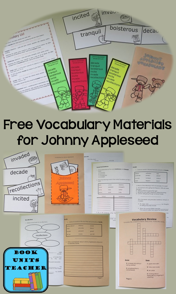Free Vocabulary Materials to use with Steven Kellogg's Johnny Appleseed