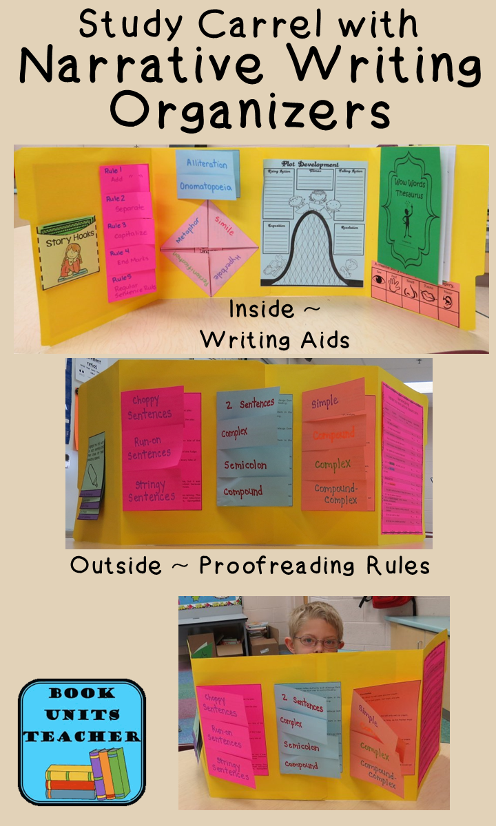 Narrative Writing Foldable Graphic Organizers ~~ These make a great study carrel for students.