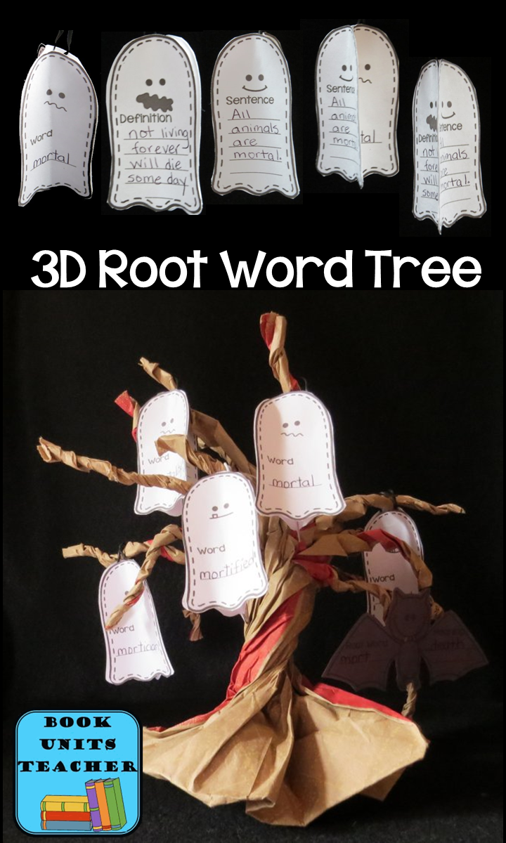 Create these fun 3D root words trees. A perfect craftivity for Halloween ~~ FREE printables