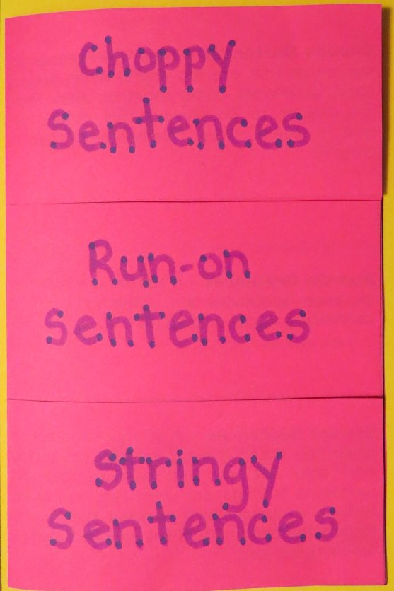 Free Foldable Graphic Organizer Going Over Three Common Sentence Problems
