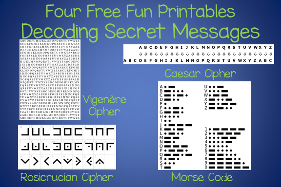 Four Cipher Codes to use when creating Secret Messages