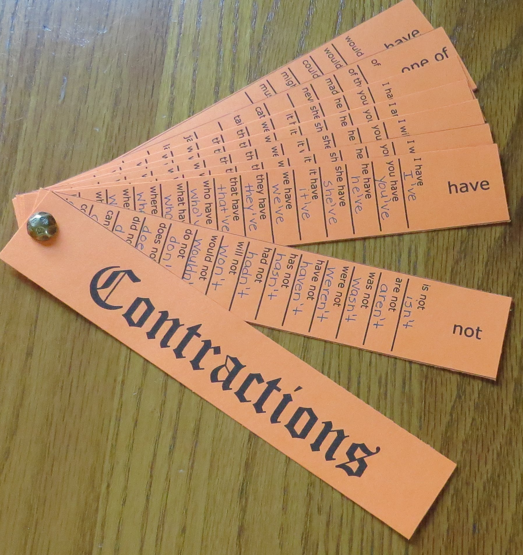 Contraction Activities - Free Printable Contraction Organizer