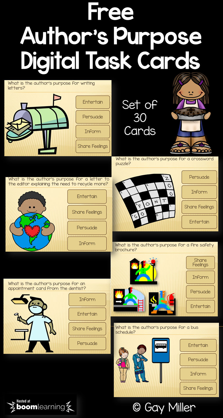 Free Set of Author's Purpose Task Cards Hosted by Boom Learning