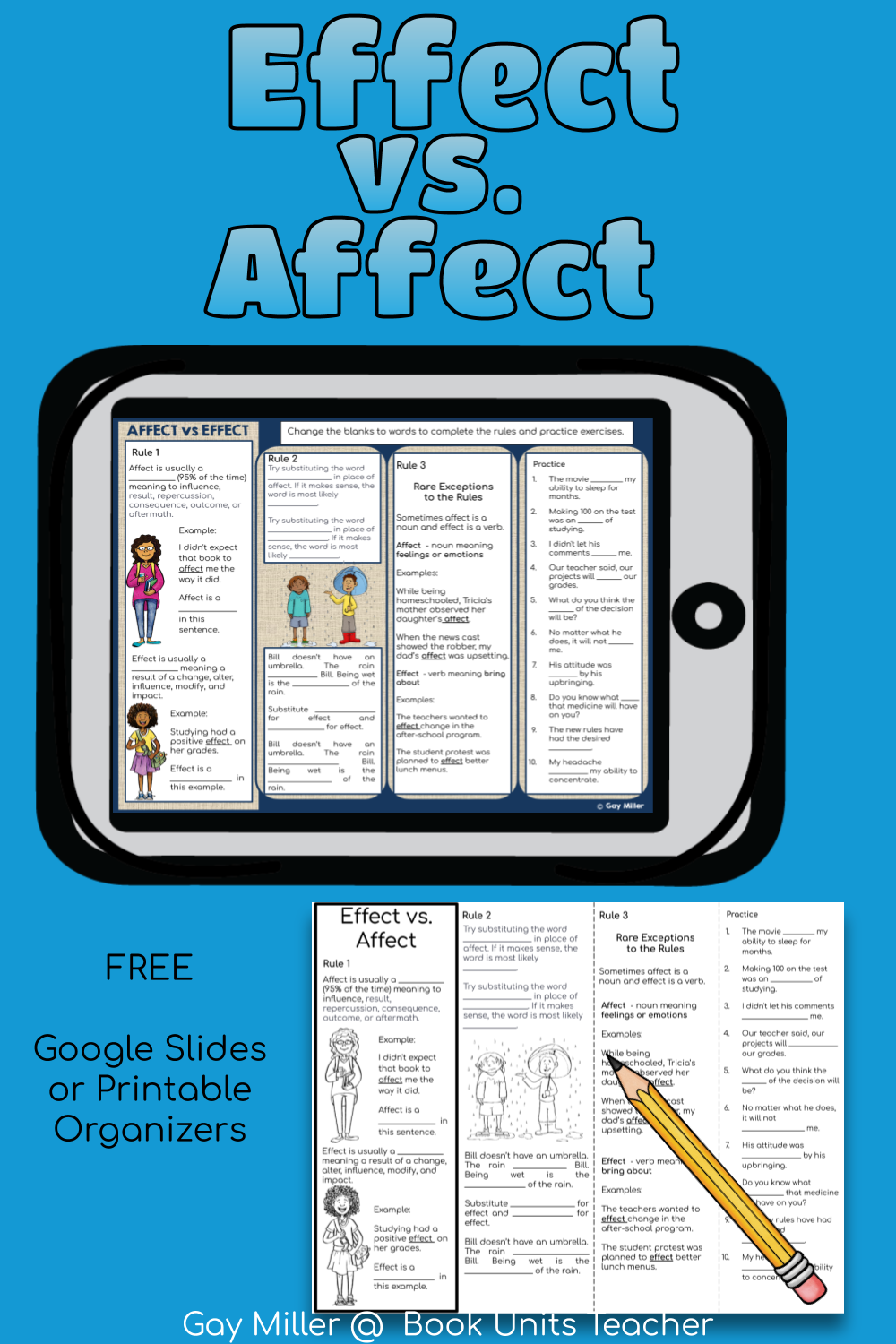 In this mini lesson, students learn the differences between effect vs affect..