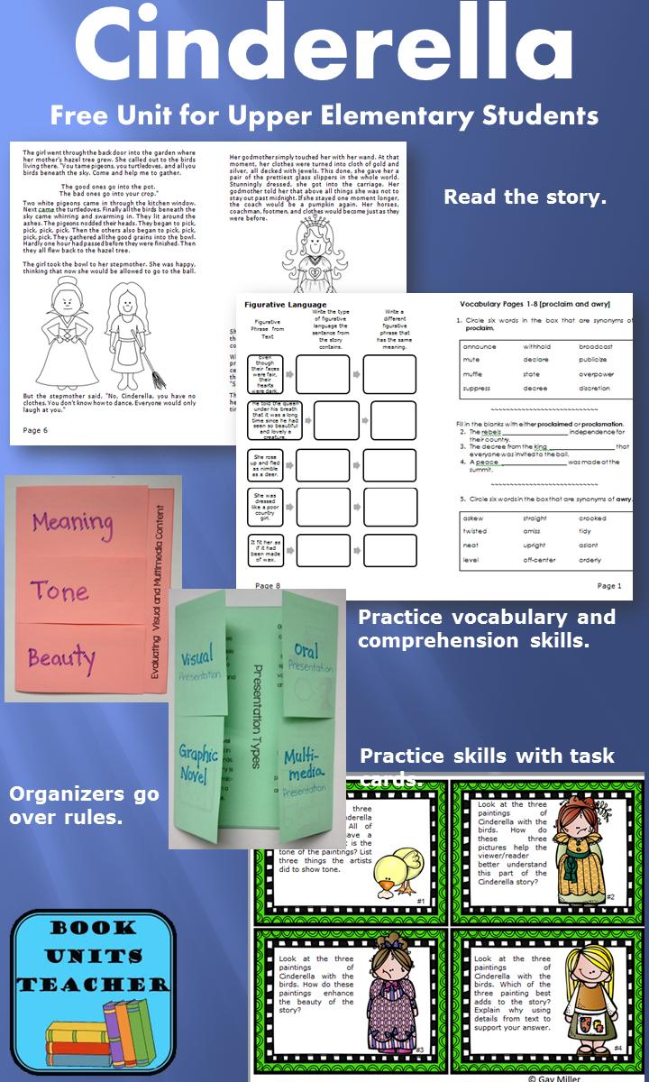 Free Cinderella Book Unit cover CCSS.ELA-LITERACY.RL.4.7 and CCSS.ELA-LITERACY.RL.5.7
