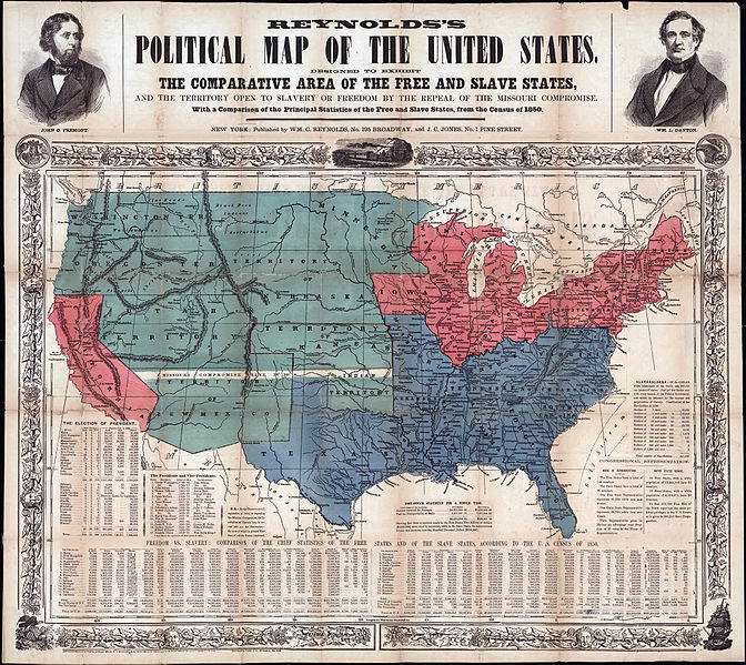 The Compromises Of 1820 And 1850 - Map Of The Us In The Civil War