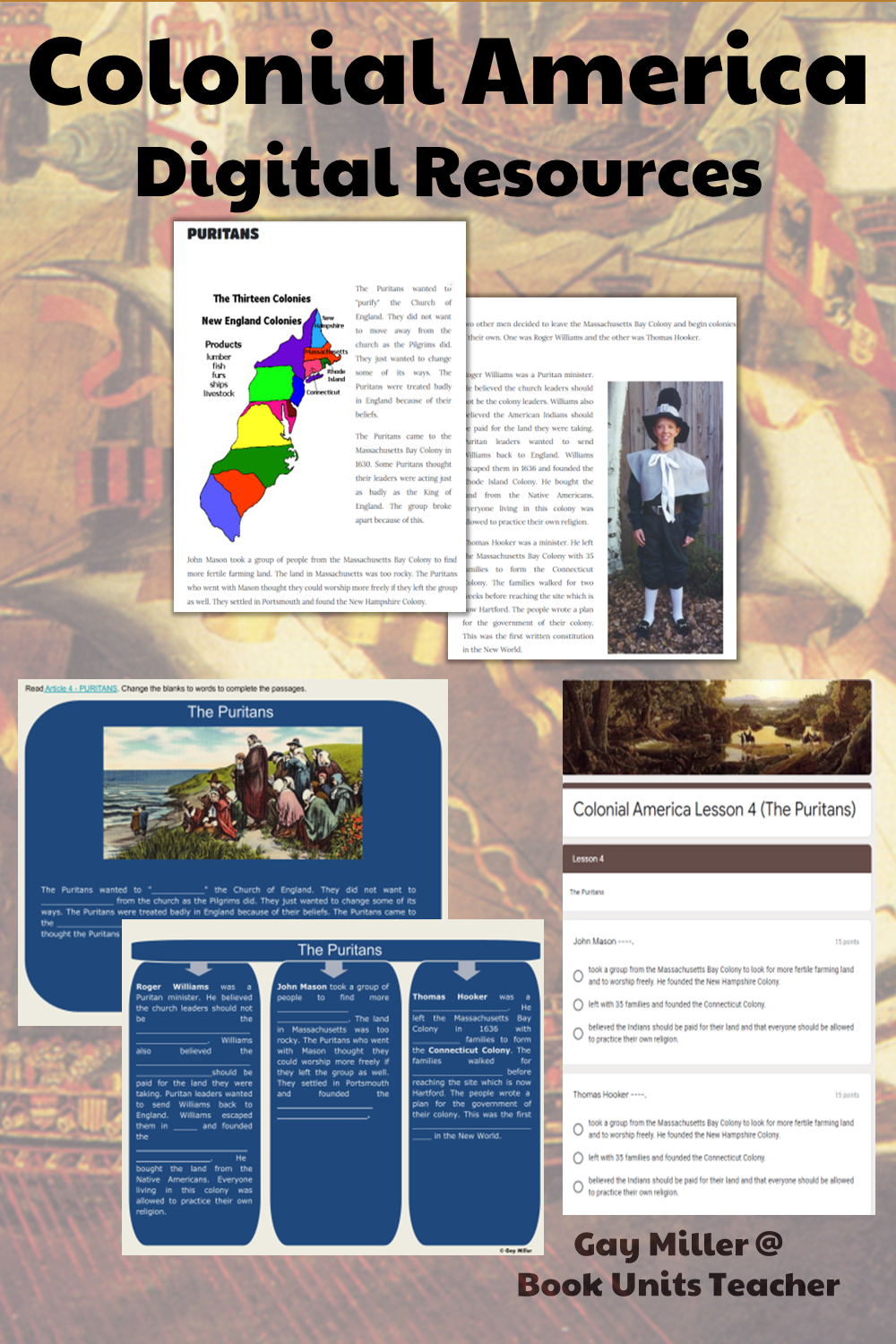 Purchase Colonial America Digital Unit on Teachers Pay Teachers. This activity is great for upper elementary including 4th, 5th, and 6th graders.