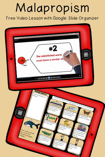 Free Mini Lesson on Malaprop - includes a Video, Slides, and Printables