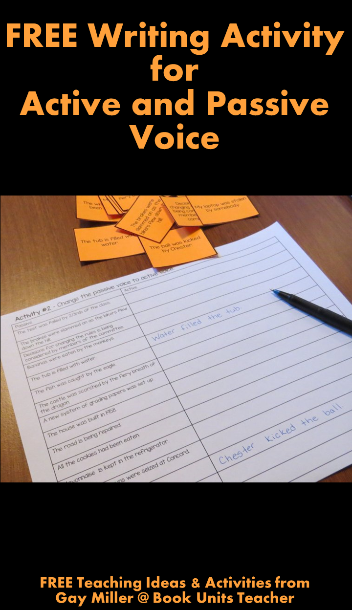 FREE Teaching Ideas & Activities for Teaching Passive and Active Voice from Gay Miller @ Book Units Teacher