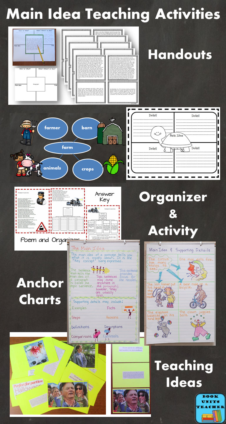Teaching Ideas for Main Idea - This blog post includes 10 teaching ideas with anchor charts, a graphic organizer, and free printables.