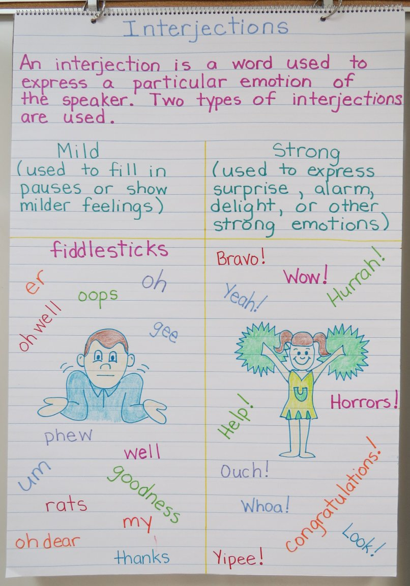 Interjections Blog Post with Many Ideas and Free Printables