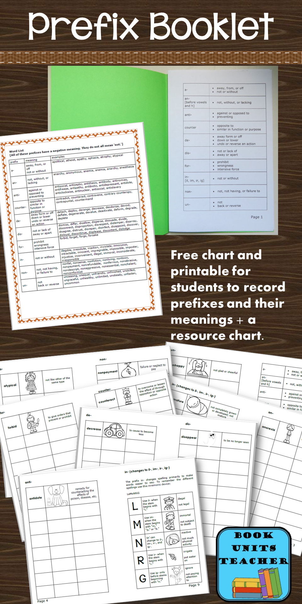 Free printable booklet for students to record prefixed words and their meanings PLUS a resource chart.