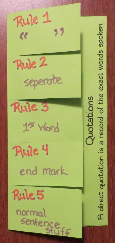 Five Rules for Writing Direct Quotations Foldable Organizer