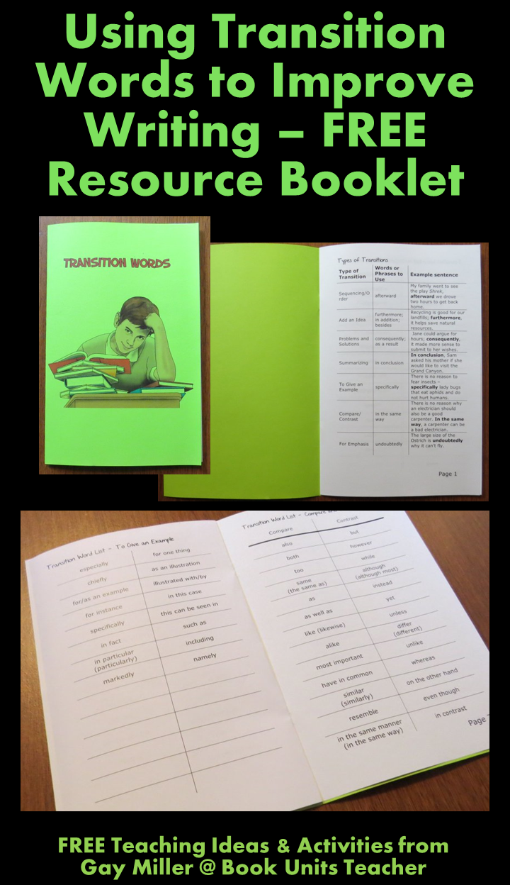 FREE Teaching Ideas & Activities for Using Transition Words to Improve Writing from Gay Miller @ Book Units Teacher
