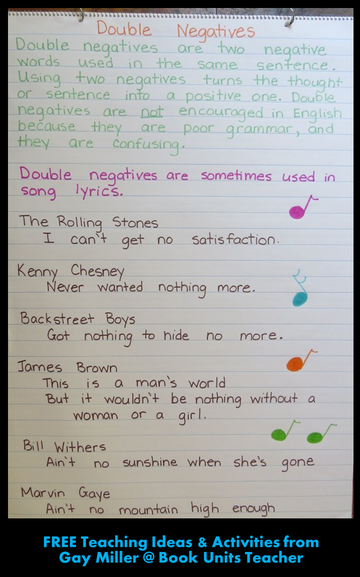 Teaching Students about Double Negatives from Gay Miller @ Book Units Teacher