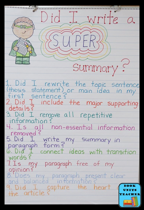 Writing a Summary Checklist