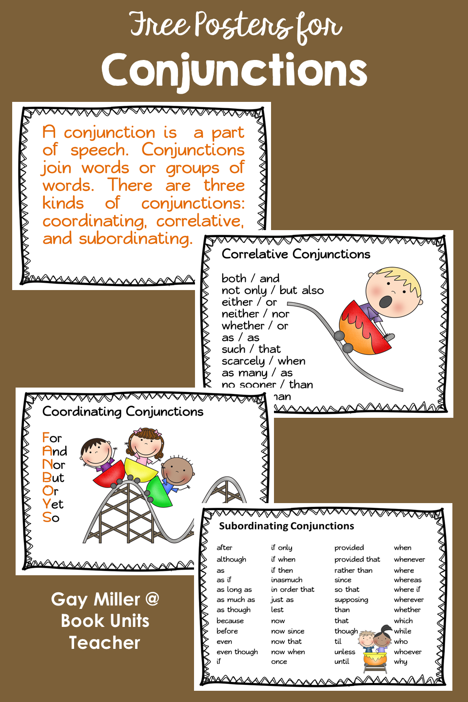 Conjunction Posters to Help Teach Parts of Speech Rules