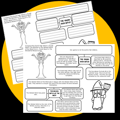 Free Compare and Contrast Printables to use with The Witches