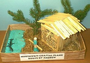 Native american plank house model