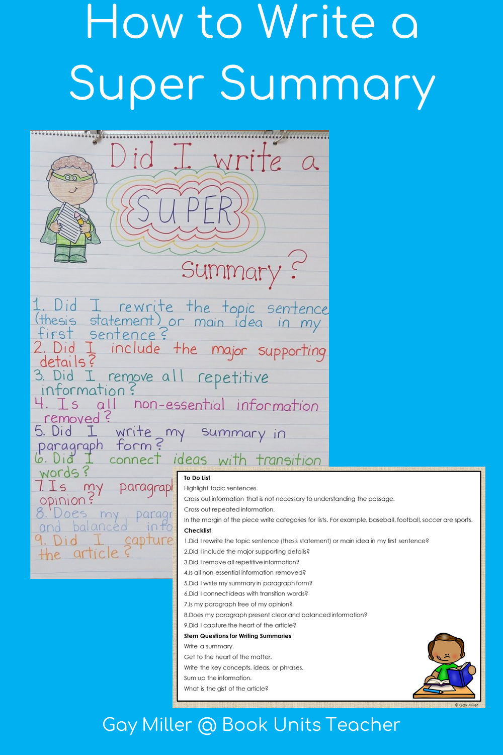 How to Write a Summary - Anchor Chart and Printable