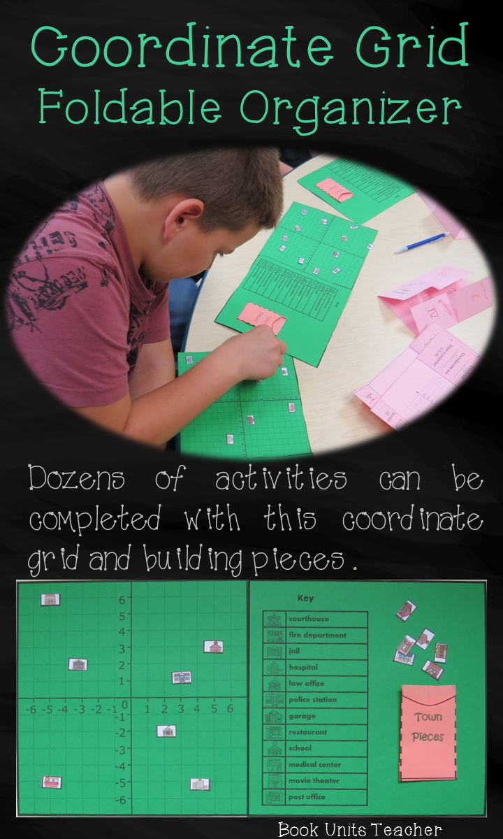 This coordinate grid foldable organizer with building pieces can be used for many activities ~ plan a town, determine how many blocks from one location to another, work in pairs with one student calling out coordinates and seeing if the other students can . . .
