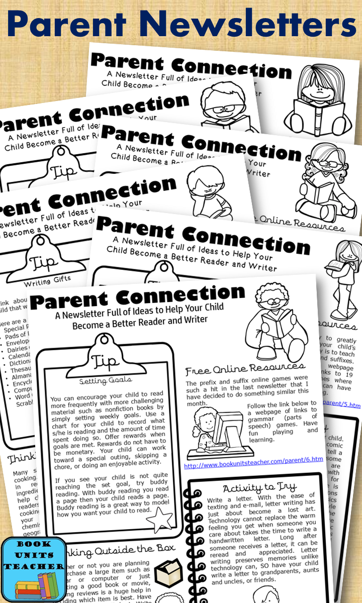 Are you looking for a great newsletter to send to parents each month? This one focuses on reading and writing and includes tips, resources, activities, and ways to get the reluctant reader reading.