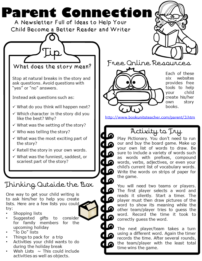 Are you interesting in sending a monthly newsletter to your parents? This one focuses on reading and writing and includes tips, resources, activities, and ways to get the reluctant reader reading. Parent Connection Newsletter ~ Issue #3