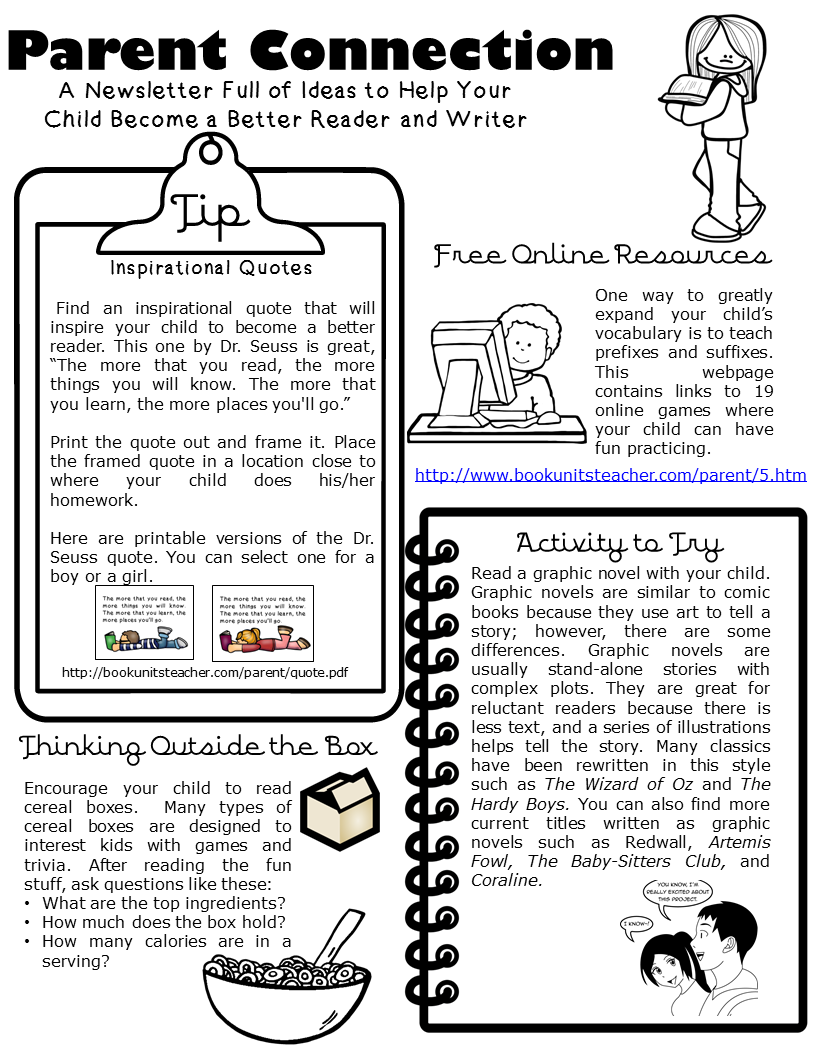 Are you interesting in sending a monthly newsletter to your parents? This one focuses on reading and writing and includes tips, resources, activities, and ways to get the reluctant reader reading. Parent Connection Newsletter ~ Issue #5