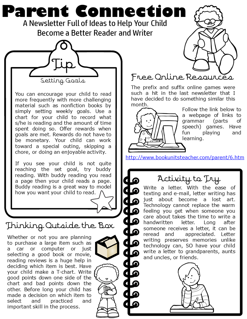 Are you interesting in sending a monthly newsletter to your parents? This one focuses on reading and writing and includes tips, resources, activities, and ways to get the reluctant reader reading. Parent Connection Newsletter ~ Issue #6