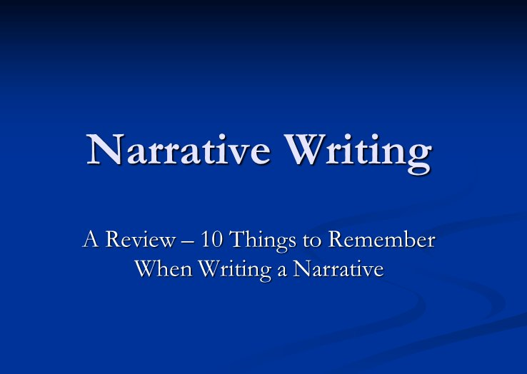 PowerPoint on Narrative Writing